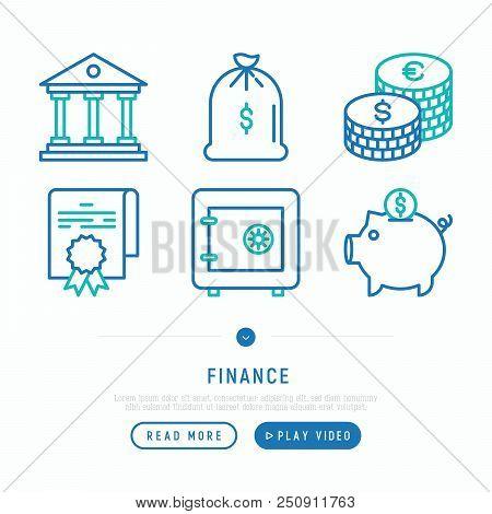 Finance Thin Line Icons Set: Bag Of Gold, Court, Coins, Safe, Piggy Bank, Agreement. Vector Illustra