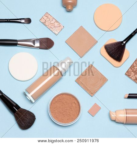 Basic Makeup Products Flatlay. Concealer, Primer, Liquid Fluid And Cream Foundation With Correcting,