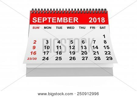 2018 Year Calendar. September Calendar On A White Background. 3d Rendering