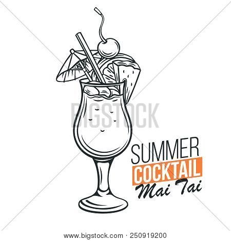 Vector Glass Of Mai Tai Cocktail With Slice Pineapple And Cherry In Retro Hand Drawn Style. Retro Il