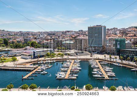 Vigo, Spain - May 20, 2017: Cityscape Of Vigo With Moored Yachts In Vigo, Galicia, Spain.