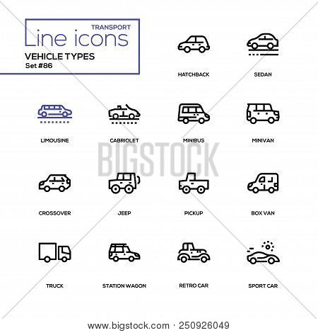 Vehicle Types - Line Design Icons Set. High Quality Pictograms. Hatchback, Sedan, Limousine, Cabriol