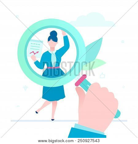 Search For Candidate - Flat Design Style Illustration On White Background. A Colorful Composition Wi