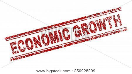 Economic Growth Seal Watermark With Corroded Texture. Red Vector Rubber Print Of Economic Growth Tex