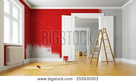Red paint wall during renovation in a large empty room (3D Rendering)