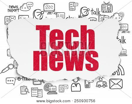 News Concept: Painted Red Text Tech News On Torn Paper Background With  Hand Drawn News Icons