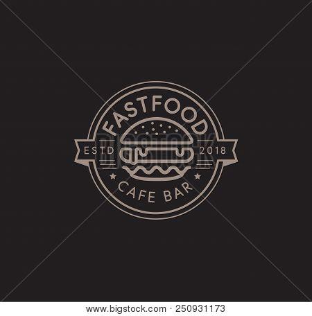 Fast Food Vector Logo Template. Hot Burger Linear Stamp Design. Hamburger Sign. Cheeseburger Sign De