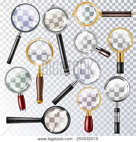 Magnifying Glass Vector Magnification Zoom Or Search And Magnify Research Lens Icon Illustration Set