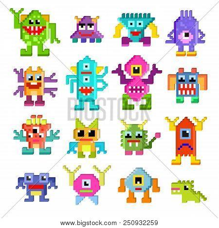 Monster Alien Vector Cartoon Pixel Monstrous Character Of Monstrosity And Alienation Illustration Mo