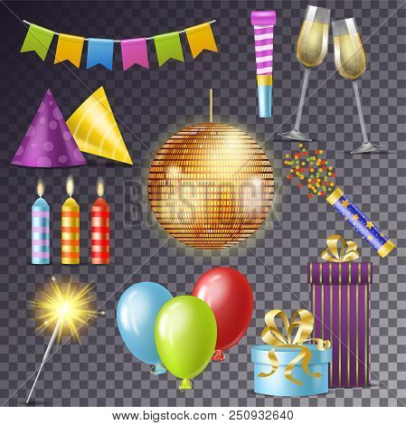 Birthday Party Vector Cartoon Happy Birth Celebration With Gifts Or Balloons On Anniversary Set Of D