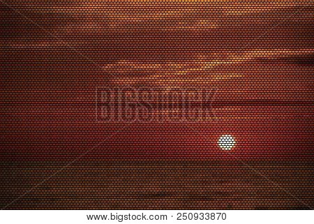 Puerto Vallarta Sunset Dotted Vector Illustration