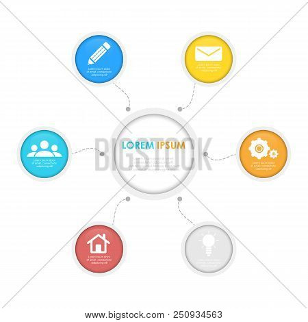 Infographics Template With Circle. Business Concept For 6 Steps, Options, Round.