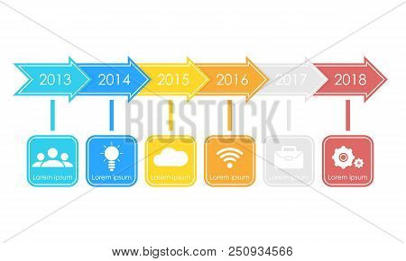 Business Timeline Process Chart Infographics Template. Vector Illustration For Workflow Layout, Diag