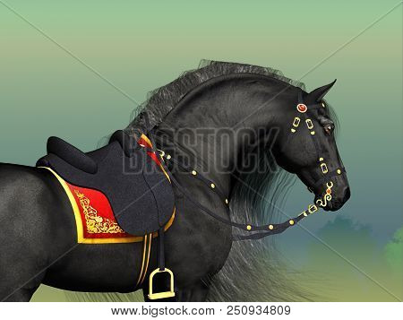 Dark Horse 3d Illustration - A Friesian Black Stallion Adorned With Fancy Classic Saddle And Bridle
