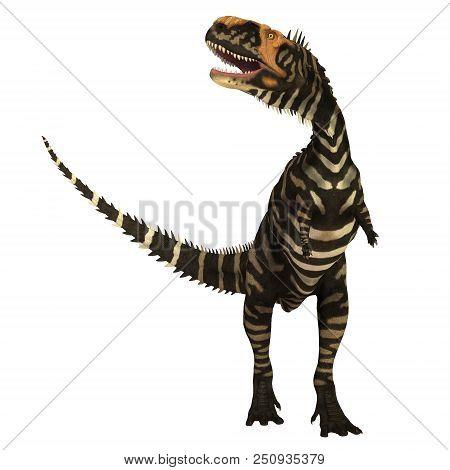 Rajasaurus Dinosaur On White 3d Illustration - Rajasaurus Was A Carnivorous Theropod Dinosaur That L