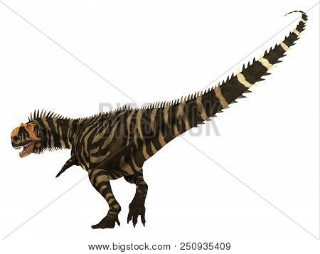 Rajasaurus Dinosaur Tail 3d Illustration - Rajasaurus Was A Carnivorous Theropod Dinosaur That Lived