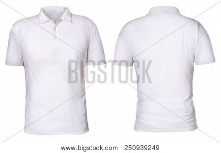 Blank Polo Shirt Mock Up Template, Front And Back View, Isolated On White, Plain T-shirt Mockup. Pol