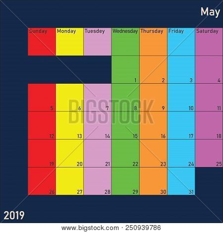 May 2019 Calendar Planer With Specific Color For Each Weekday And Month Color