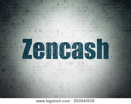 Cryptocurrency Concept: Painted Blue Word Zencash On Digital Data Paper Background