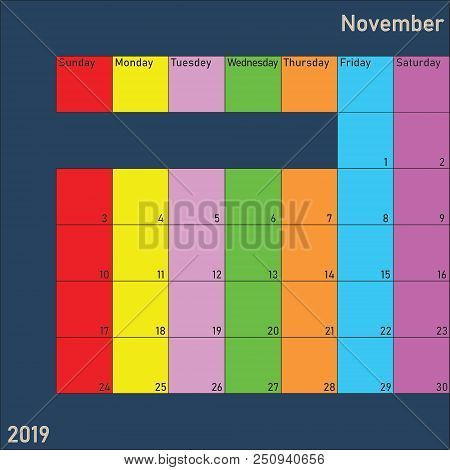 November 2019 Calendar Planer With Specific Color For Each Weekday And Month Color