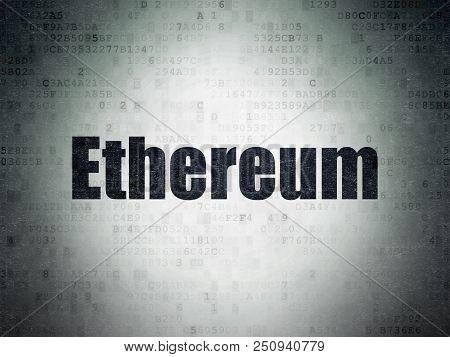 Blockchain Concept: Painted Black Word Ethereum On Digital Data Paper Background