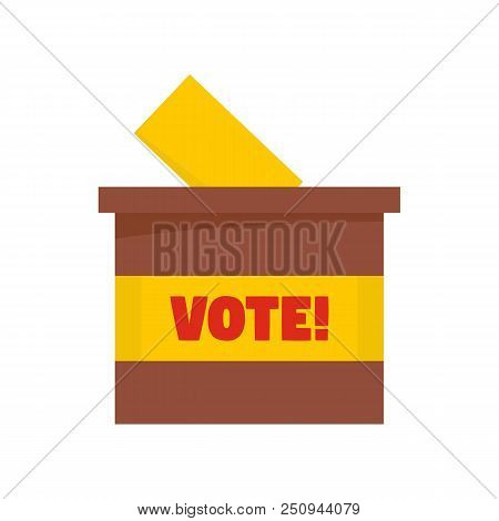 Wood Vote Box Icon. Flat Illustration Of Wood Vote Box Vector Icon For Web Isolated On White