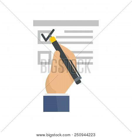 Vote Sign On Paper Icon. Flat Illustration Of Vote Sign On Paper Vector Icon For Web Isolated On Whi