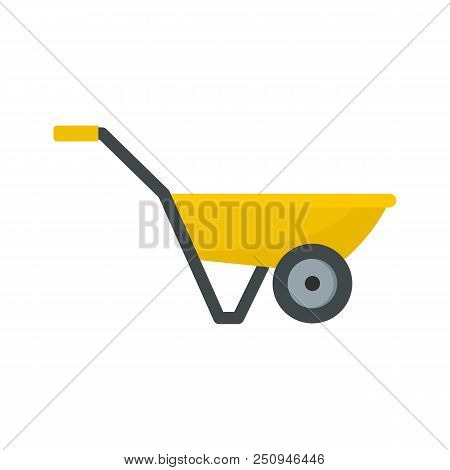 Hand Truck With One Wheel Icon. Flat Illustration Of Hand Truck With One Wheel Vector Icon For Web I