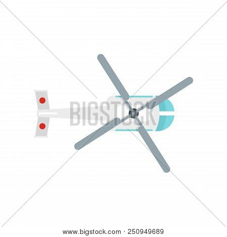 Top View Helicopter Icon. Flat Illustration Of Top View Helicopter Vector Icon For Web Isolated On W