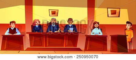 Court hearing vector illustration of courtroom interior background. Judges, prosecutor or advocate man, legal secretary woman and accused or defendant sitting at judge table poster