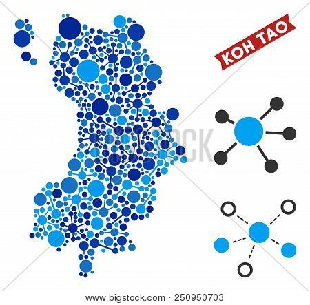 Network Koh Tao Thai Island Map Mosaic. Abstract Territory Plan Of Relations In Blue Color Tints. Ve