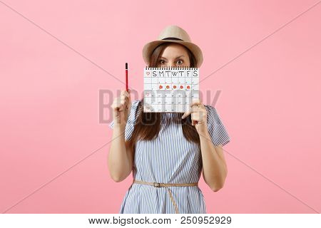 Portrait Of Young Woman In Blue Dress, Hat Holding Red Pencil, Female Periods Calendar For Checking