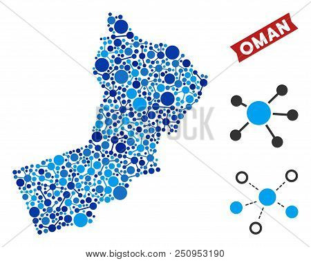 Network Oman Map Mosaic. Abstract Geographic Plan Of Links In Blue Shades. Vector Oman Map Is Constr