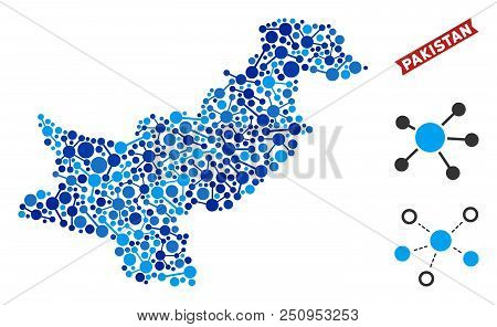 Network Pakistan Map Composition. Abstract Territory Plan Of Connections In Blue Color Tints. Vector