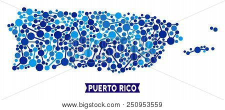 Network Puerto Rico Map Composition. Abstract Territory Plan Of Connections In Blue Color Tinges. Ve