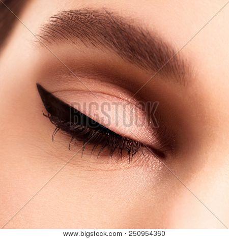 Macro Beautiful Female Eye With Long Eyelashes . Sexy Look Sensu