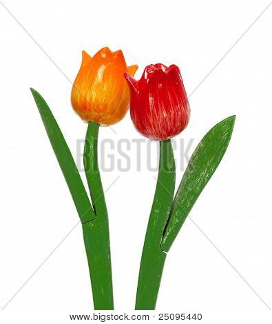 plastic tulip flowers isolated on white background poster