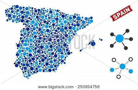 Web Spain Map Composition. Abstract Geographic Scheme Of Links In Blue Shades. Vector Spain Map Is O