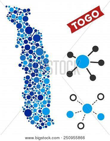 Web Togo Map Collage. Abstract Territory Scheme Of Links In Blue Shades. Vector Togo Map Is Organize