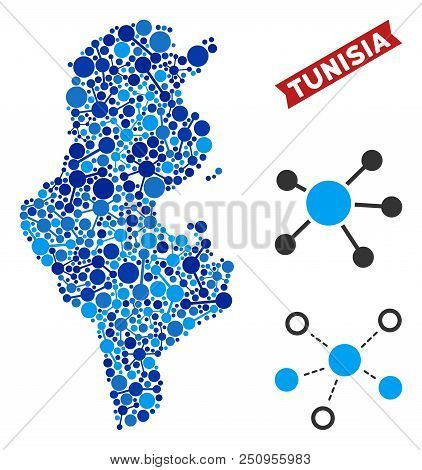 Web Tunisia Map Mosaic. Abstract Territory Plan Of Links In Blue Color Tinges. Vector Tunisia Map Is
