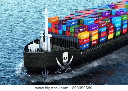 Freighter ship with piracy smuggling cargo containers sailing in ocean, 3D rendering poster