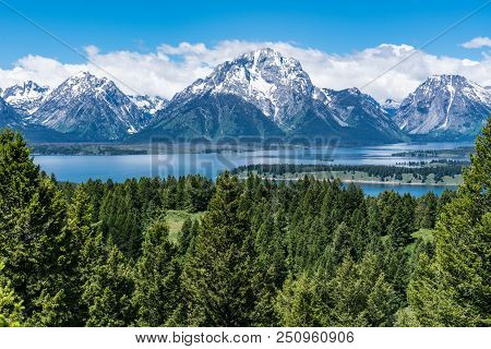 Teton Mountain Range In Grand Teton National Park Near Jackson, Wyoming