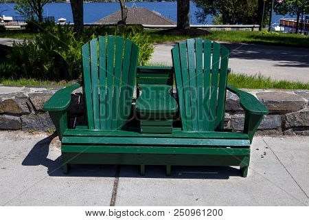 A Unique Twin Adirondack Bench In The Town Of Lake George