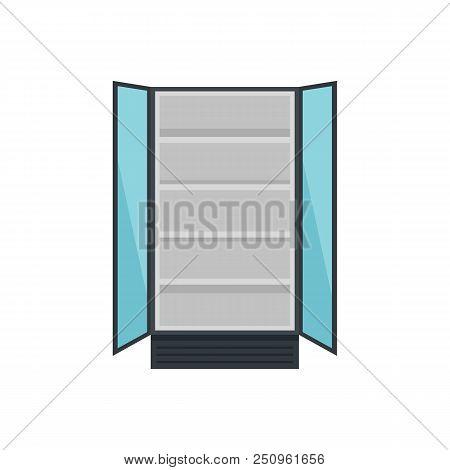 Open Commercial Fridge Icon. Flat Illustration Of Open Commercial Fridge Vector Icon For Web Isolate