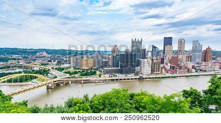 Pittsburgh, Pa - June 16, 2018: Pittsburgh, Pennsylvania Skyline  Overlooking The Allegheny Monongah