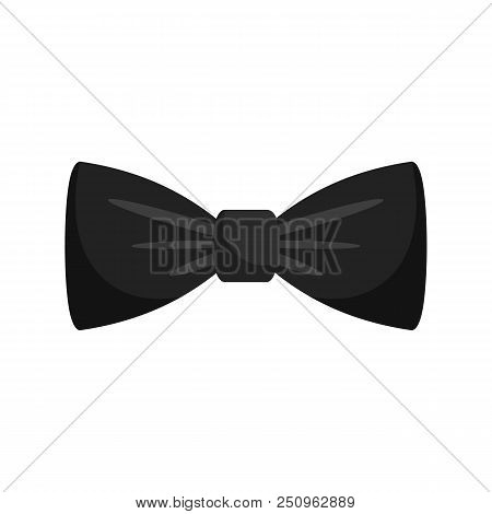 Black Bow Tie Icon. Flat Illustration Of Black Bow Tie Vector Icon For Web Isolated On White