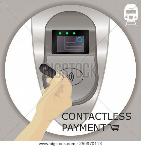 Airport, Metro, Subway Ticket Terminal For Wireless Payments. Rfid. Hands Holding Wireless, Contactl