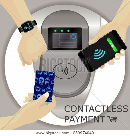 Airport, Metro, Subway Ticket Terminal For Wireless Payments. Rfid. Hand Holding Card, Smartphone, S