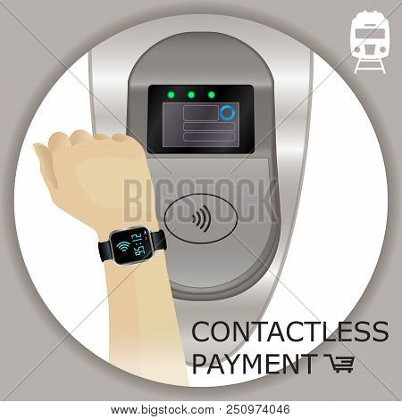 Airport, Metro, Subway Ticket Terminal For Wireless Payments. Rfid. Hand With Smartwatch For Transpo