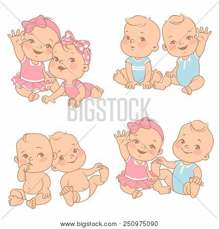 Set With Cute Little Twin Babies. Baby Shower Illustration. Twin Girls And Boys. Different Pairs Of